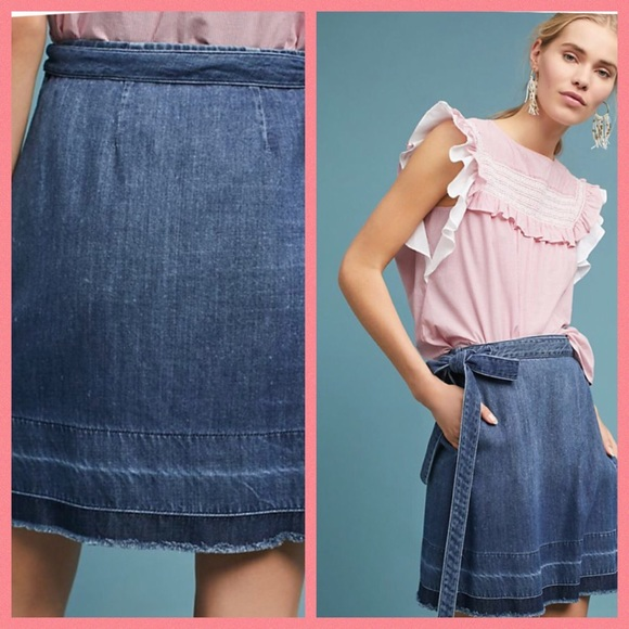 d6e22166d Anthropologie Skirts   Cloth Stone Denim Wrap Skirt   Poshmark